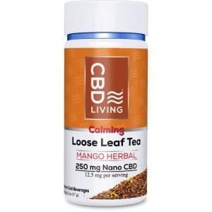 CBD Living Cbd Loose Leaf Tea - Mango Herbal 12.5 mg 2 oz Jar