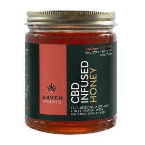 Seven Points CBD Infused Raw Honey 12oz 500mg