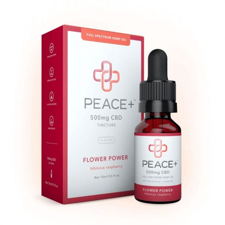 Peace+ CBD Tincture Oil – Flower Power – Hibiscus Raspberry 500mg 15ml