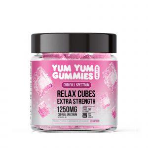 Yum Yum Gummies - Full Spectrum CBD Relax Raspberry Cubes - 1250mg