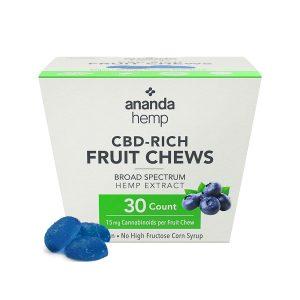 Ananda Hemp CBD Fruit Chews - Blueberry 15mg 30 Count