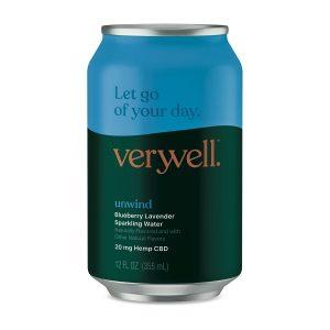 Veryvell™ CBD Sparkling Water - Unwind - Blueberry Lavender 20mg 12oz
