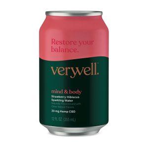 Veryvell™ CBD Sparkling Water - Mind & Body - Strawberry Hibiscus 20mg 12oz