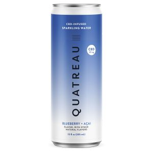 Quatreau CBD Infused Sparkling Water - Blueberry+Acai 20mg 12oz