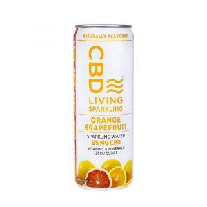 CBD Living Sparkling Water - Orange Grapefruit 25mg 12oz