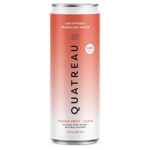 Quatreau CBD Infused Sparkling Water - Passion Fruit+Guava 20mg 12oz