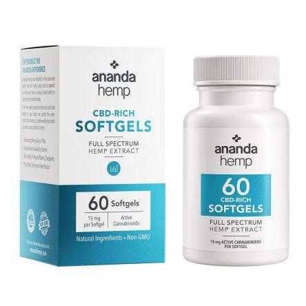 Ananda Hemp Spectrum 15mg CBD Oil Softgels 60